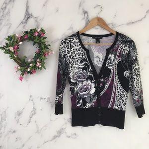 WHBM Floral & Leopard Print Cardigan